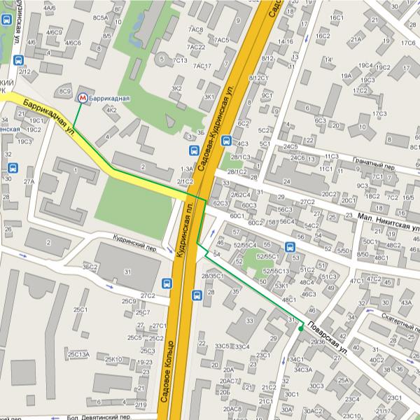 Схема проезда от метро Баррикадная.