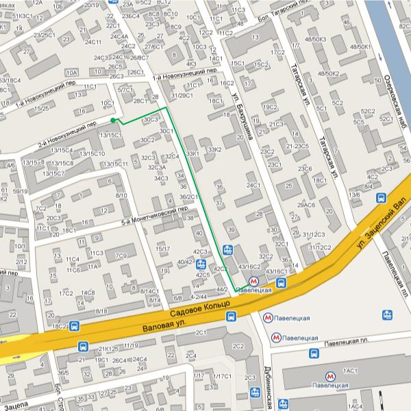 Схема проезда от метро Павелецкая.